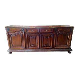 Early 18th Century French Provincial Baroque Walnut Buffet For Sale
