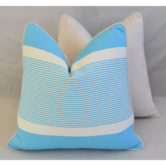 """French Blue & White Nautical Striped Feather/Down Pillows 22"""" Square - Pair For Sale - Image 11 of 13"""