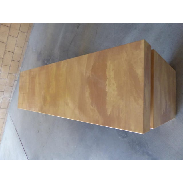 Wood A Chic Art Deco Inspired Faux-Goatskin Console Table For Sale - Image 7 of 12