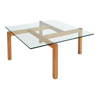 1960s Vintage Mid-Century Modern French Constructivist Oak Coffee Table