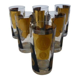 Set of Six Retro Cera Black/Gold Tumbers Drinking Glasses For Sale