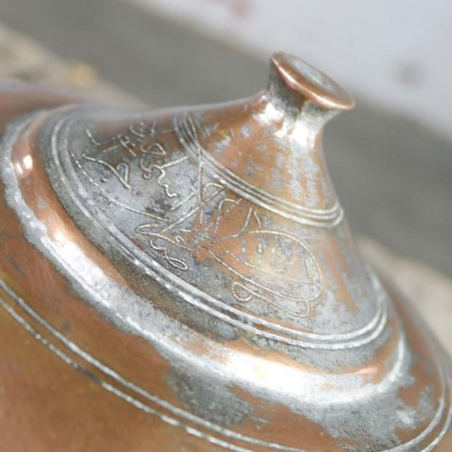 Islamic Antique Turkish Copper Medium Sized Footed Bowl With Lid Hand Forged Incised Tinned For Sale - Image 3 of 13