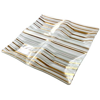 Large Mid-Century Modern Bent Glass Hors d'Oeuvres Tray For Sale
