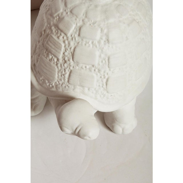 Plaster Modern White Plaster Turtle Table Lamp For Sale - Image 7 of 11