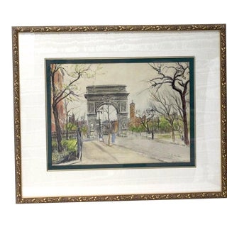 """Mid-Century Ira Moskowitz """"Washington Square Park Nyc"""" 1953 Painting Pen Ink and Watercolor Listed Artist For Sale"""