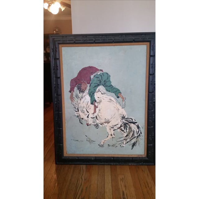 Large vintage panting by Wilton. It is a artist rendering of a wild horse ride. She has soft colors of earth tones with an...
