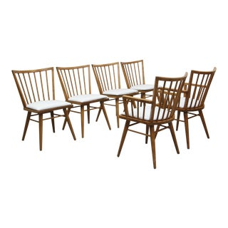 Set of 6 Mid Century Maple Dining Chairs by Leslie Diamond for Conant Ball