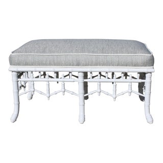 Vintage Chinoiserie Faux Bamboo Bench Upholstered in a Woven Thibaut Fabric For Sale