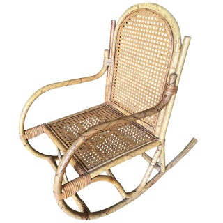 Restored Child Size Rattan Rocking Chair with Wicker Seat For Sale