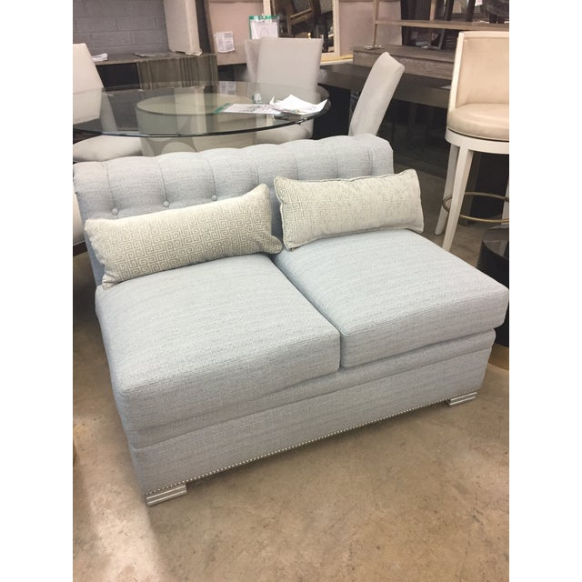 Modern Chesterfield Century Furniture Armless Love Seat For Sale In Charlotte - Image 6 of 7