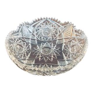 "10"" American Brilliant Period Cut Crystal Bowl For Sale"