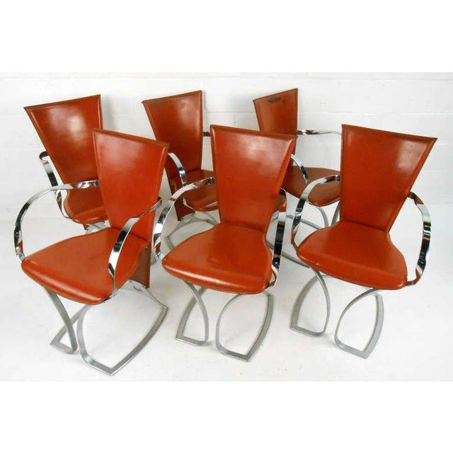 Magnificent Vintage Chrome And Leather Dining Chairs Set Of 6 Beatyapartments Chair Design Images Beatyapartmentscom