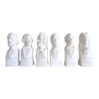 Vintage Mid Century Neoclassical Famous Composers Cast Plaster Statuettes - Set of 6 For Sale