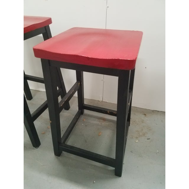 Two Vintage English Wooden Stools With Red Tops For Sale - Image 10 of 13
