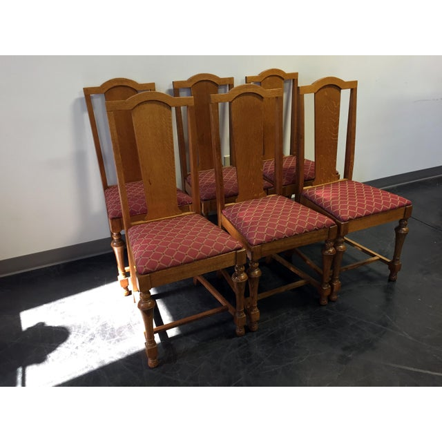 Antique Victorian Quartersawn Tiger Oak Dining Chairs - Set of Six 6 For  Sale - Image - Antique Victorian Quartersawn Tiger Oak Dining Chairs - Set Of Six 6