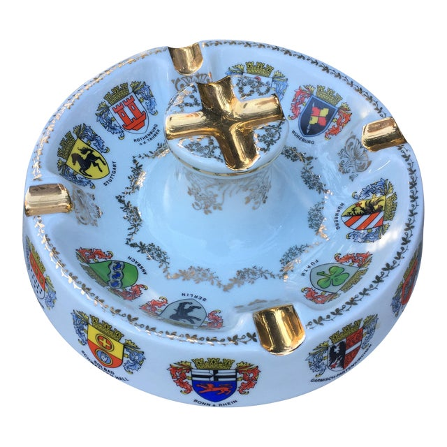 Vintage Ansbach German Crest Gold Ash Tray - Image 1 of 7