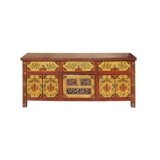 Chinese Tibetan Jewel Flower Graphic Low Credenza Shoes Cabinet For Sale