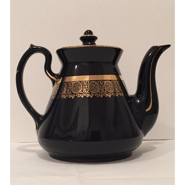 "Black and Gold Hollywood Regency ""Hall Usa"" Teapot - Image 3 of 9"