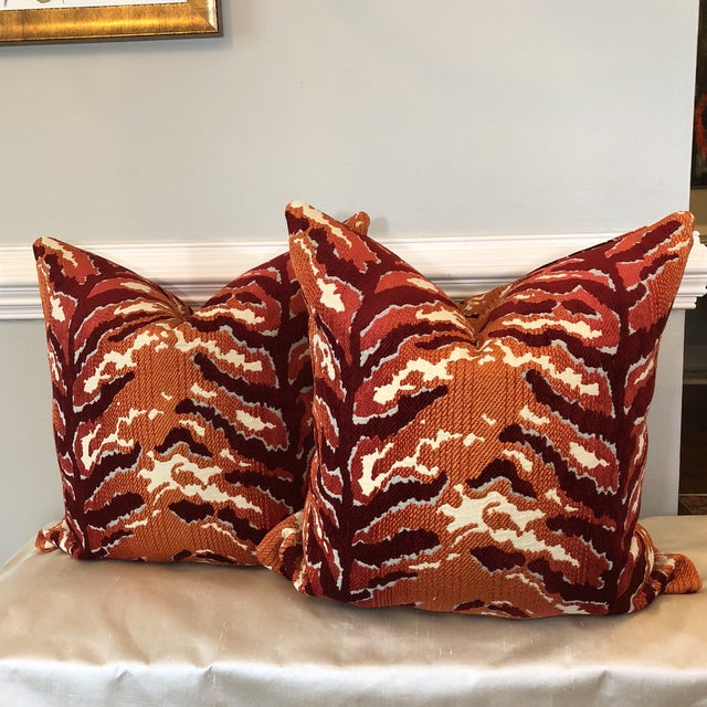 Woven Tiger Print Pillows - A Pair For Sale In Greensboro - Image 6 of 6