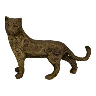 Mid Century Brass Leopard Statue Decor For Sale