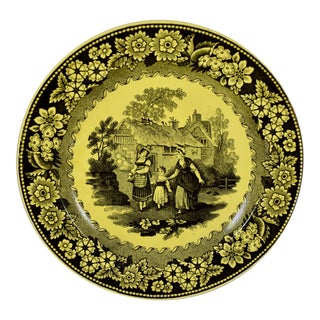 Creil Et Montereau Canary Yellow Creamware Strolling Women & Floral Plate For Sale