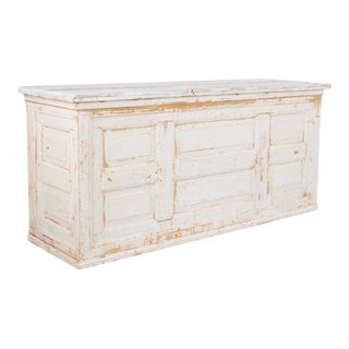 Turn of the Century French White Painted Pine Bar For Sale