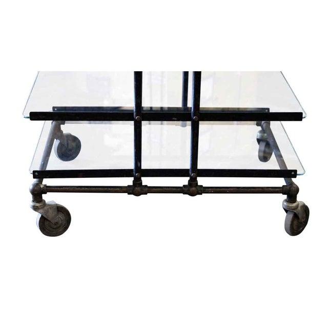 Eight Glass Black Shelf Storage Unit For Sale - Image 5 of 6