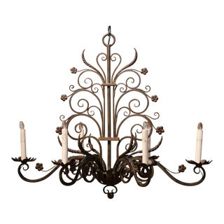 Early 20th Century French Louis XV Six-Light Iron Chandelier For Sale