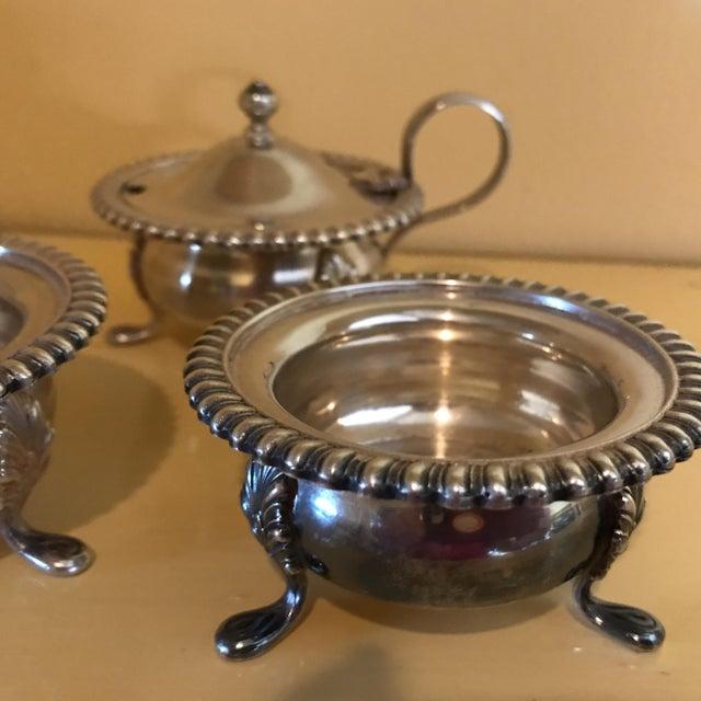 Hollywood Regency Vintage Silver Mustard Pot & Matching Salt Cellars - Set of 3 For Sale - Image 3 of 8