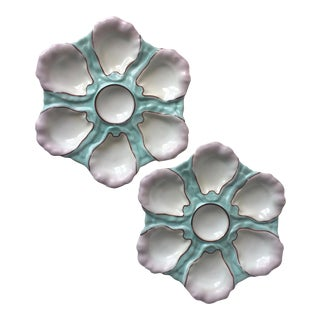 2 Antique French Porcelain Aqua Oyster Plates For Sale