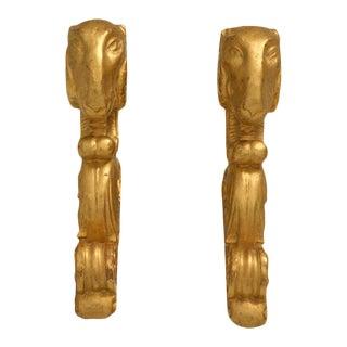 Italian Gilt Pole Brackets - A Pair
