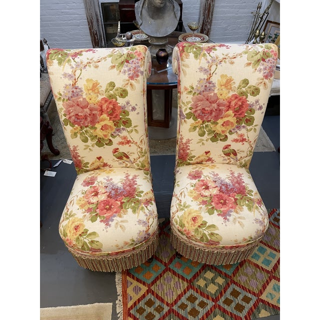 Shabby Chic Vintage Floral Parsons Chairs - a Pair For Sale - Image 3 of 6