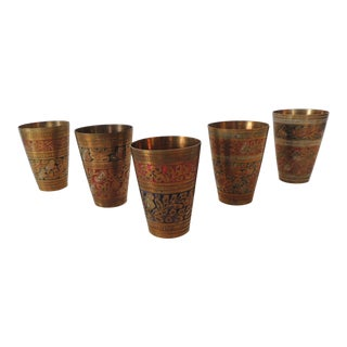 Set of Five (5) Moroccan Hand Painted Brass Drinking Cups For Sale