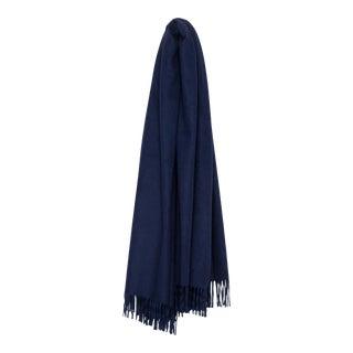Arran Plain Cashmere Throw, Navy Blue For Sale