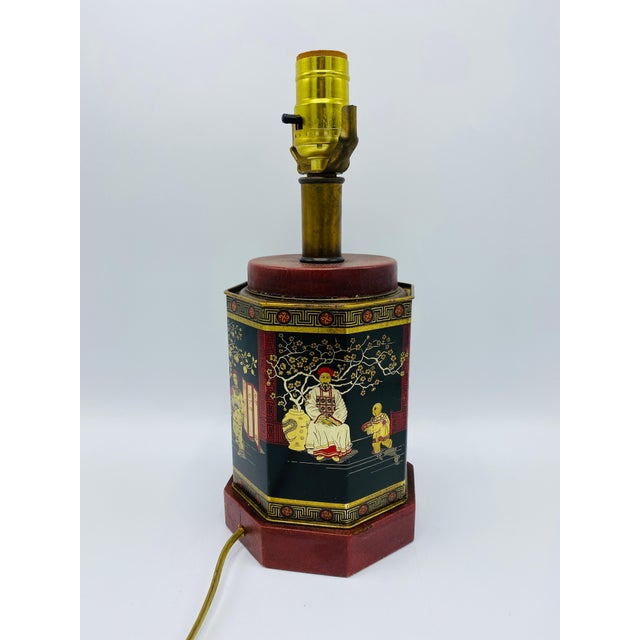 1950s Chinoiserie Red and Black Tole Tea Canister Lamp With Leather Details For Sale - Image 11 of 13