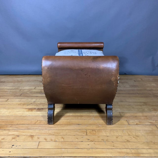 1930s Otto Schulz Leather & Grainsack Footstool, Boet, Sweden For Sale In New York - Image 6 of 11