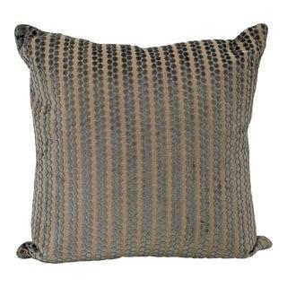 Cream & Blue Velvet Raised Dots Linen Pillow For Sale
