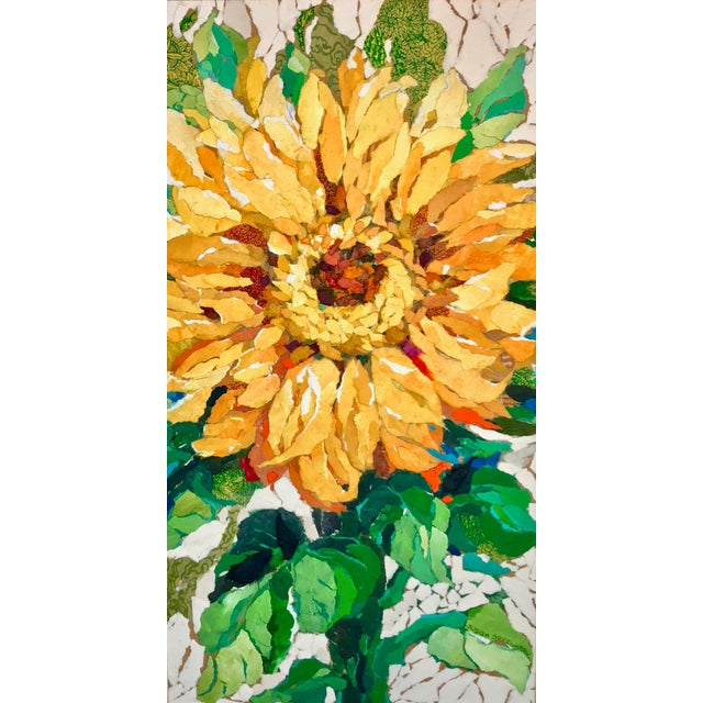 Sunflower I This is a floral collage on a wood board. It is made with hand-painted papers done in acrylic paint which are...