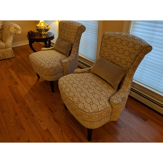 Copper Art Deco-Inspired Accent Chairs by Thomasville - A Pair For Sale - Image 8 of 11