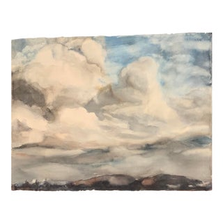 """Mid Century Bay Area Artist """"Clouds"""" Watercolor Painting For Sale"""