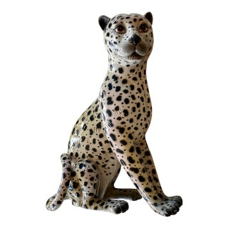 Large Vintage Art Deco Snow Leopard Figurine, Made in Italy For Sale