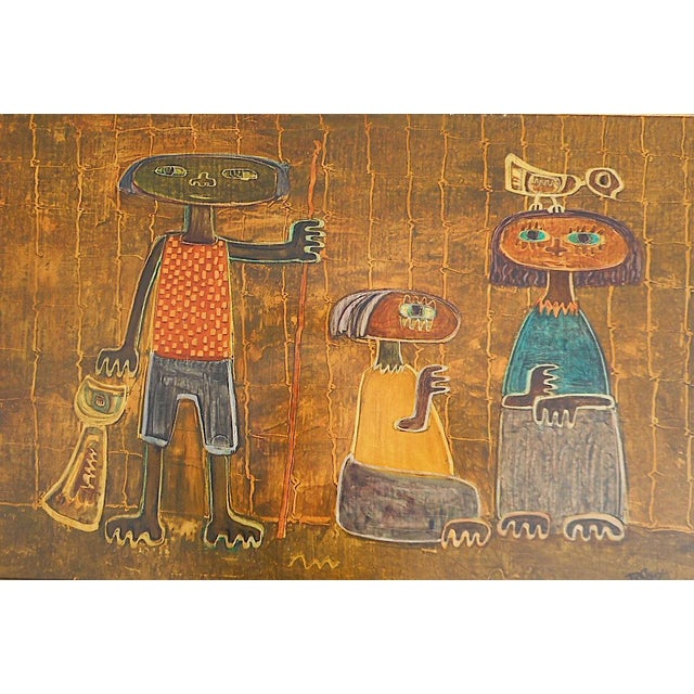 This is an original vintage oil on board with incised line work by the listed Argentinian artist Raul Conti (1931- )....