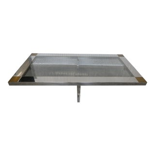 Superb Stainless Steel , Brass and Lucite Rectangular Coffee Table For Sale