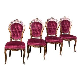 1900s Vintage Crushed Cranberry Victorian Upholstered Chairs - Set of 4 For Sale