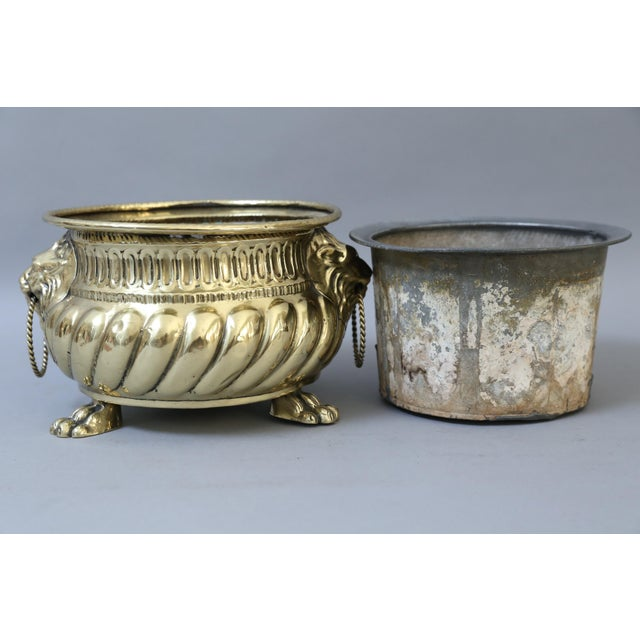 Early French Brass Jardiniere with Original Zinc Liner - Image 5 of 7