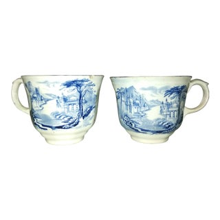 Staffordshire Blue Transfer Ironstone Mugs - a Pair For Sale