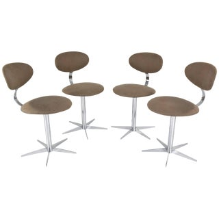 20th Century French Chrome Dining Chairs, Set of Four, 1970s For Sale