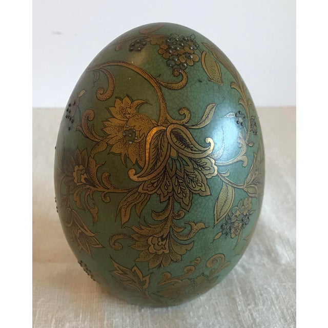 Green & Gold Egg With Floral Raised Details For Sale - Image 9 of 9