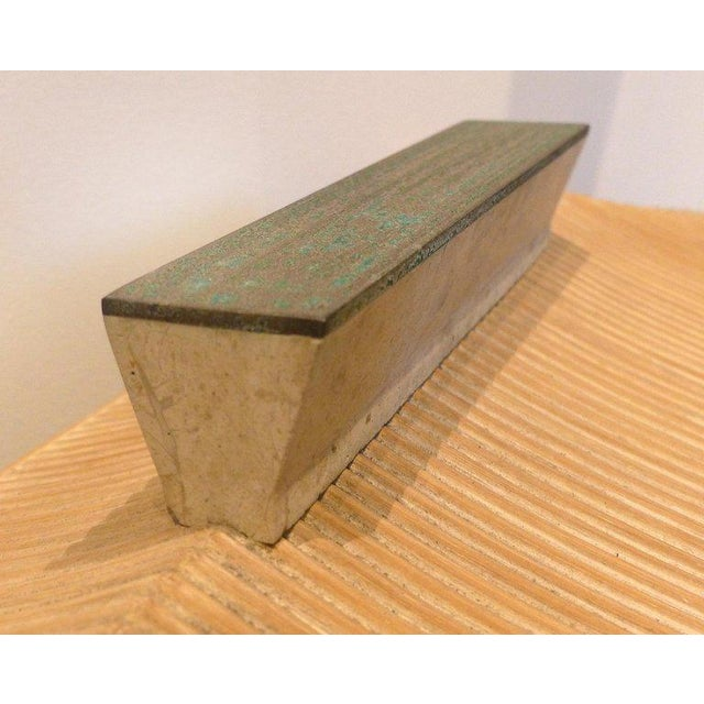 Over-Scale Maitland-Smith Box With Fossilized Stone, Reed and Brass For Sale - Image 9 of 13