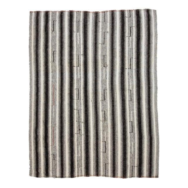 Textile Vintage Black & Gray Striped Kilim Rug- 8′ × 10′2″ For Sale - Image 7 of 7